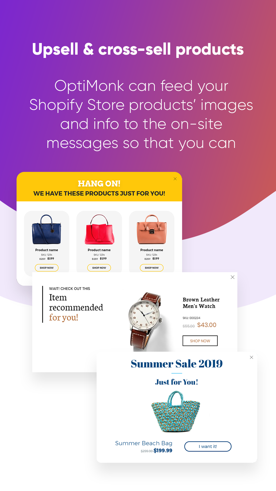 upsell and recommend product on popups, sidemessages