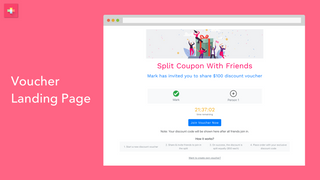 split coupon page - invite friends on Whatsapp