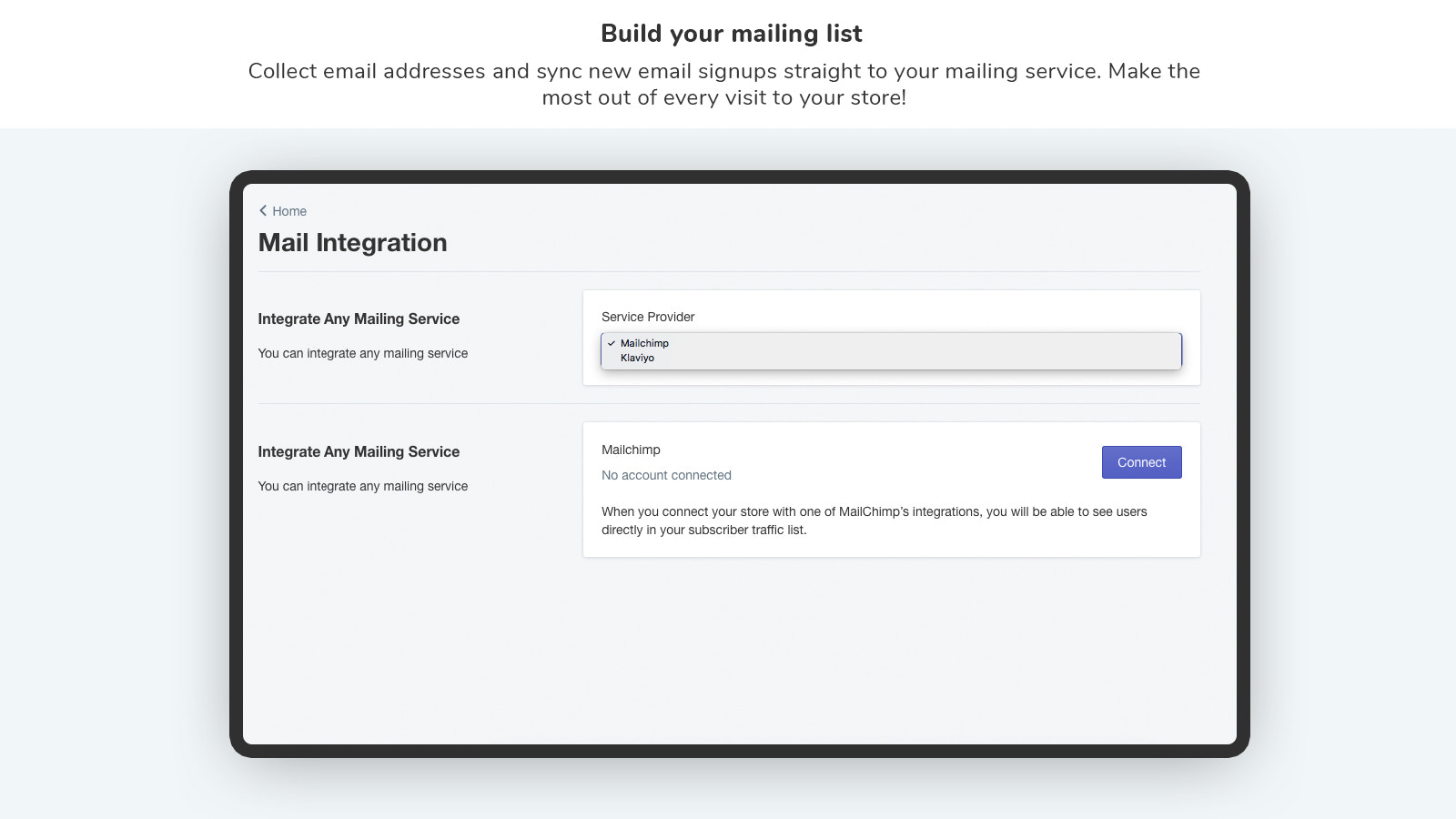 Popup for sign-ups with email integration service