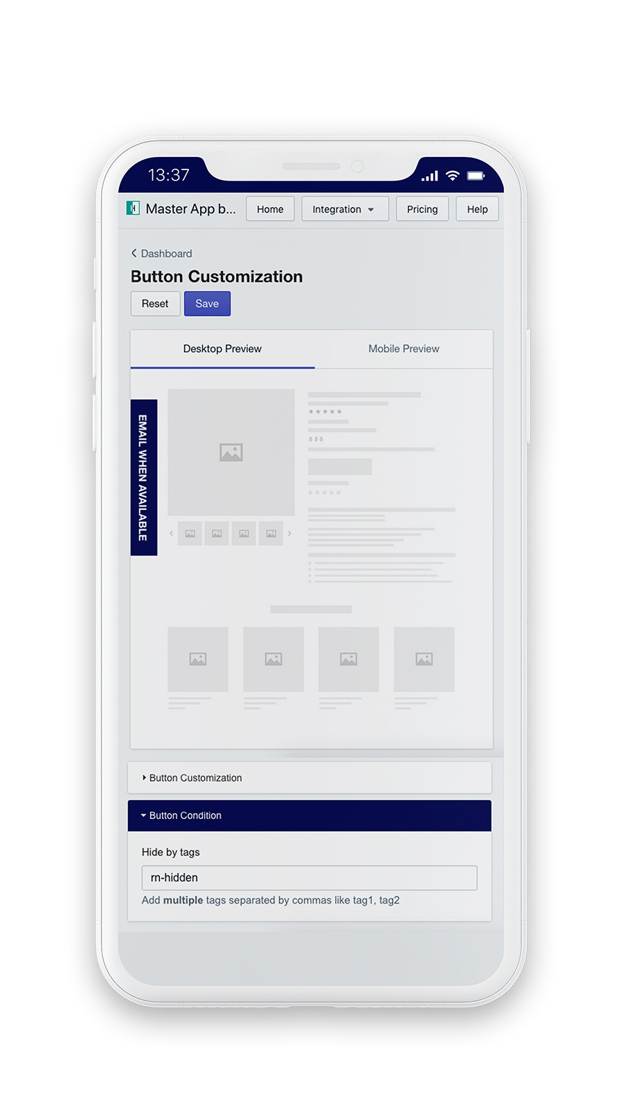 Back in-stock display customization for email alert