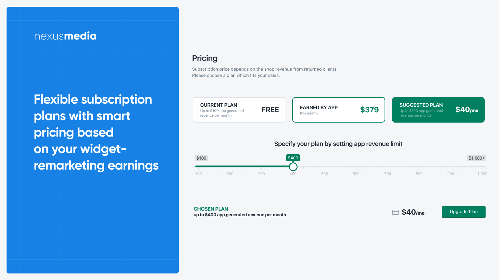 Flexible subscription plans, smart pricing based on your earning