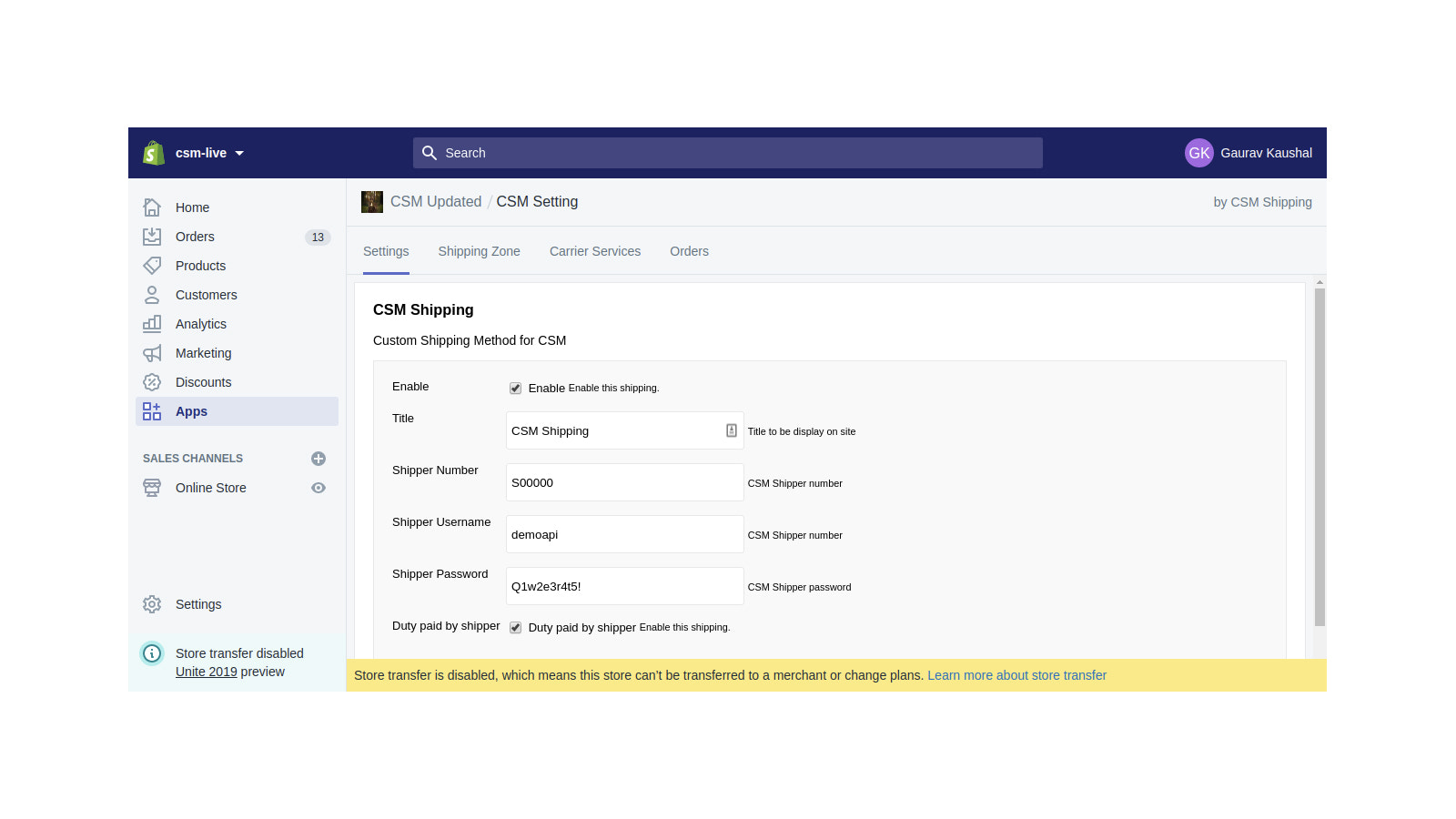 CSM shipping account details settings