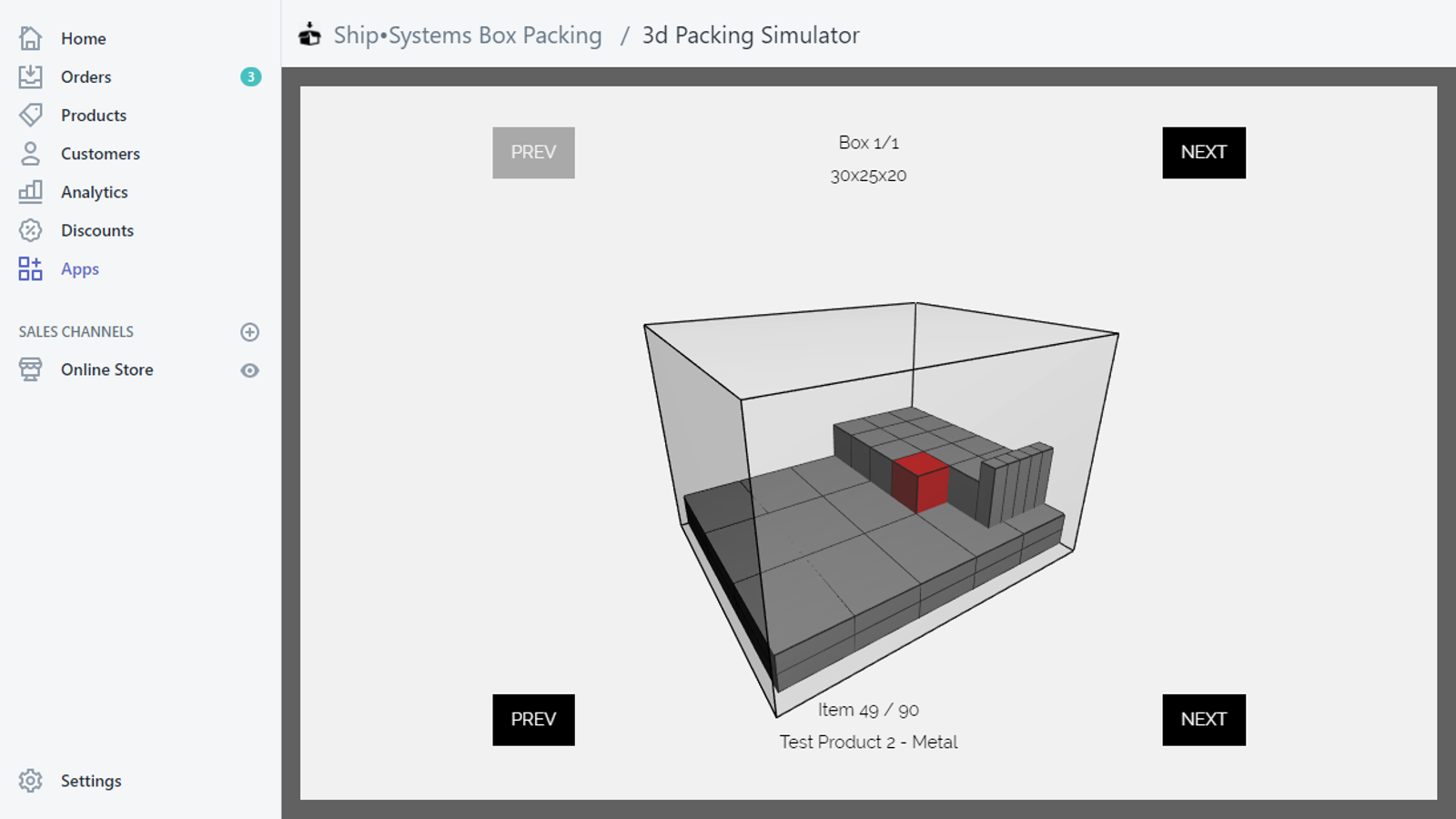 3D Packing Visualisation