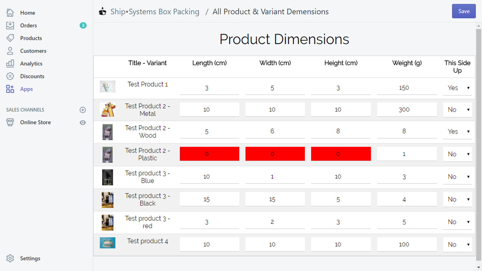 Enter product dimensions one by one or all at once