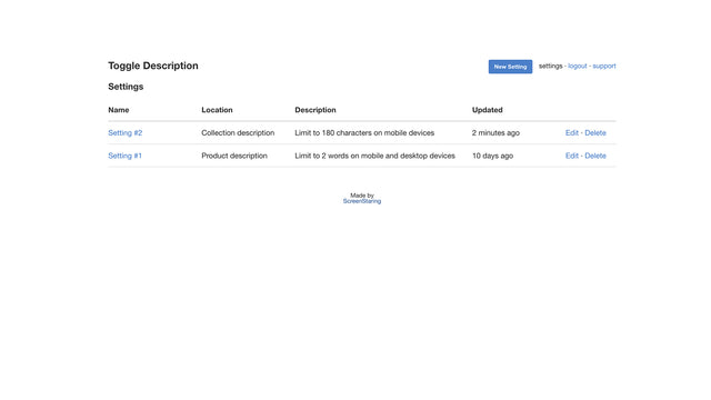 List of settings to toggle collection and product descriptions