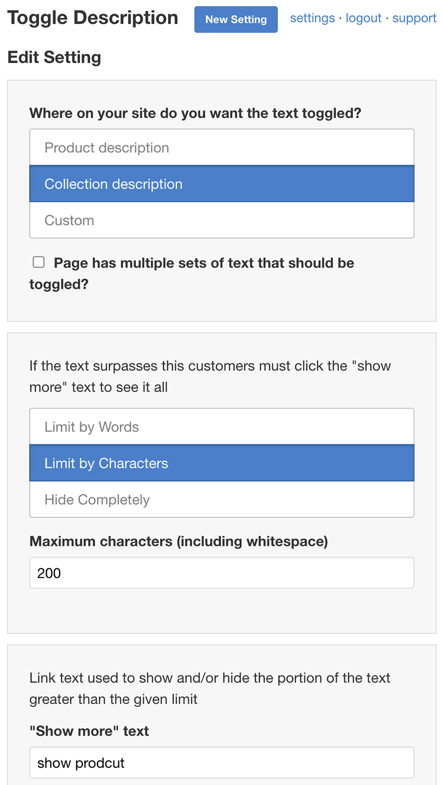 Edit collection or product description setting on mobile
