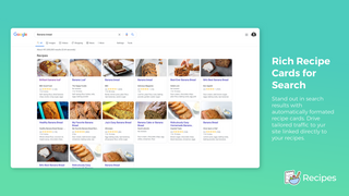 Rich recipe cards show on search results automatically