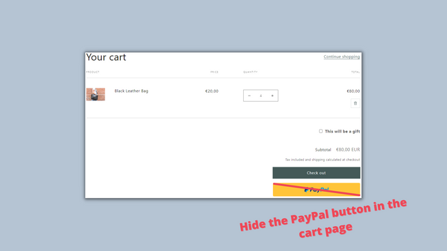 Hide PayPal Button In cart page on Shopify