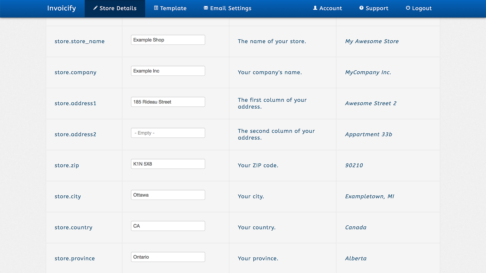 Update your store or invoice details at any time in the settings