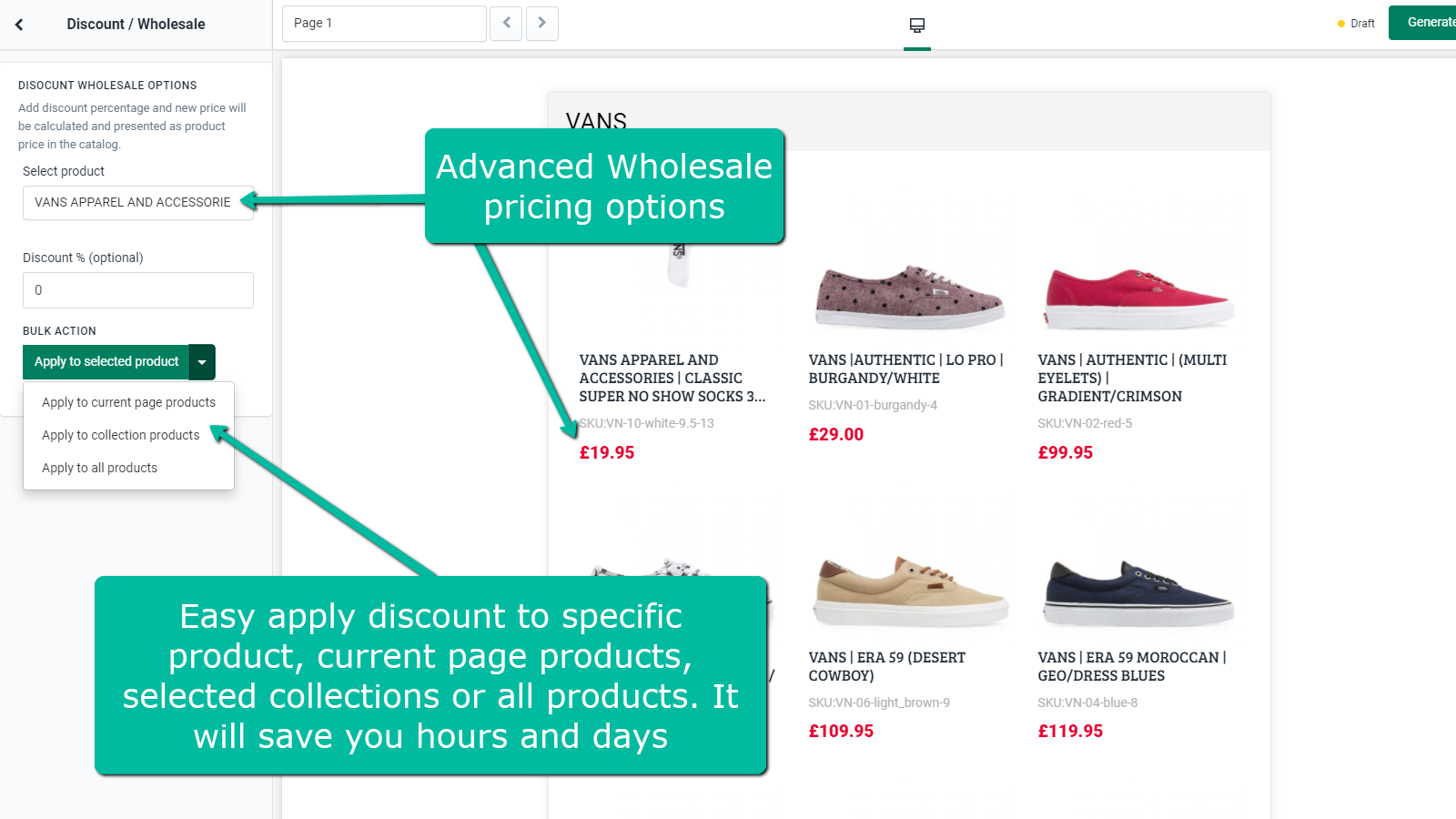 Wholesale Discount Pricing Options and Bulk Actions