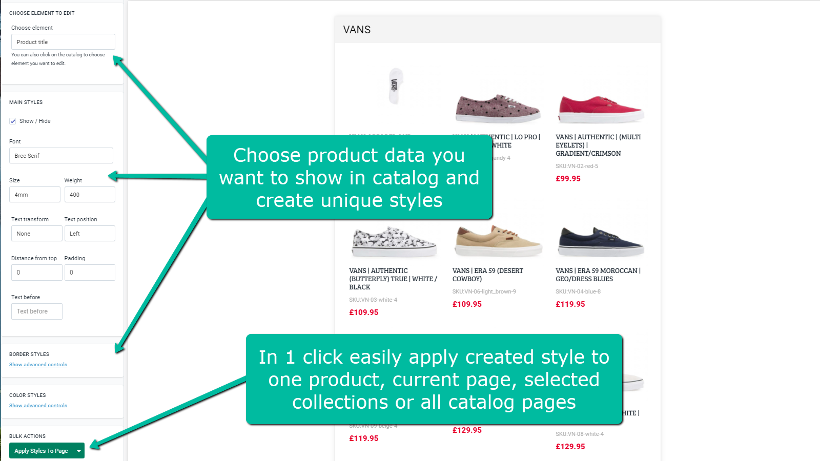Product data, styles and bulk actions