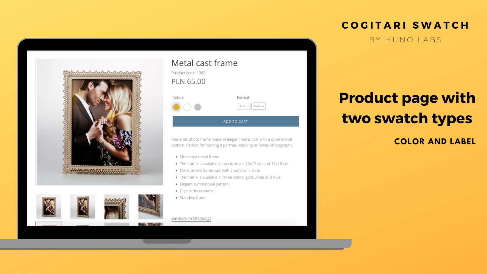 Product page color and label swatch