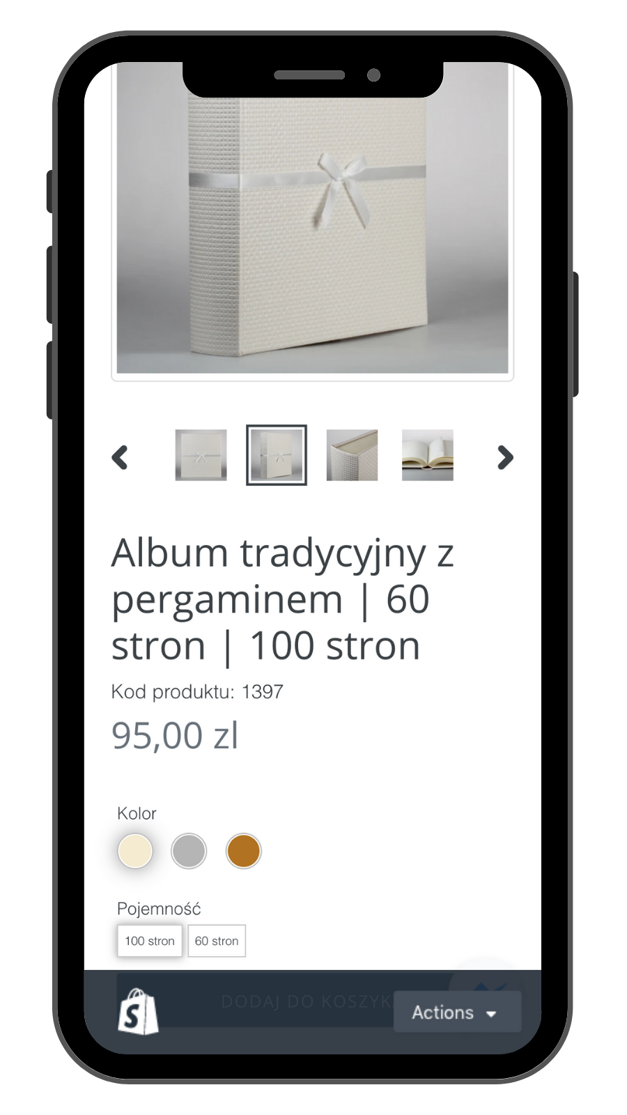 Product page on mobile