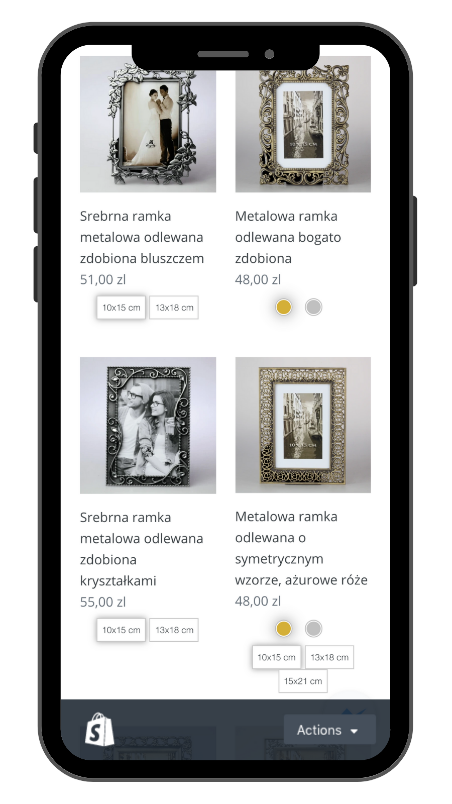 Collection page on mobile