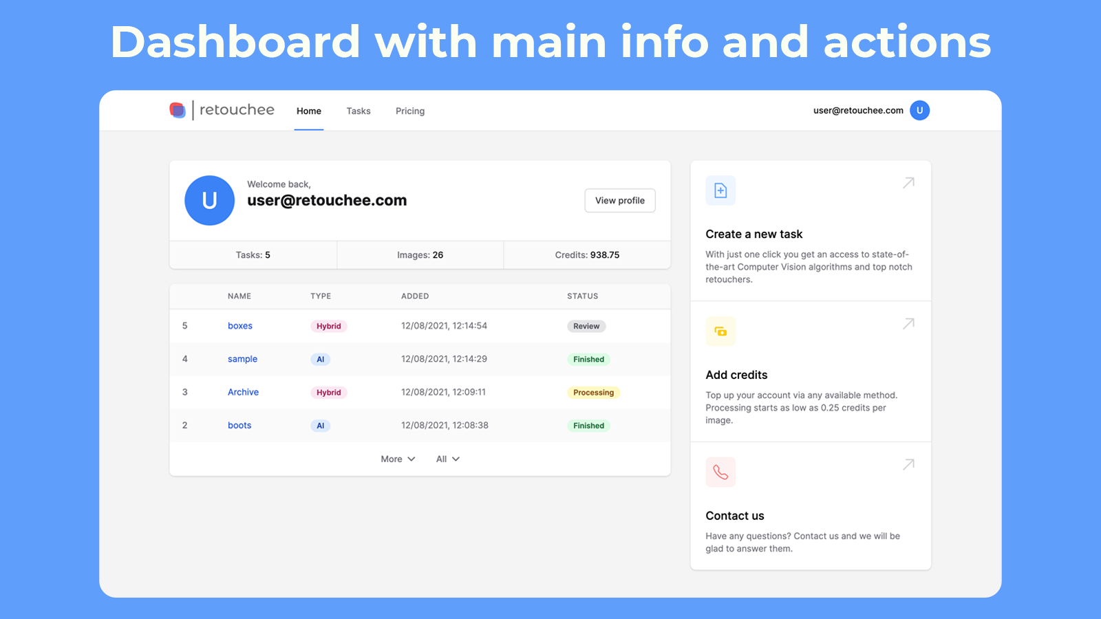 Dashboard with main info and actions