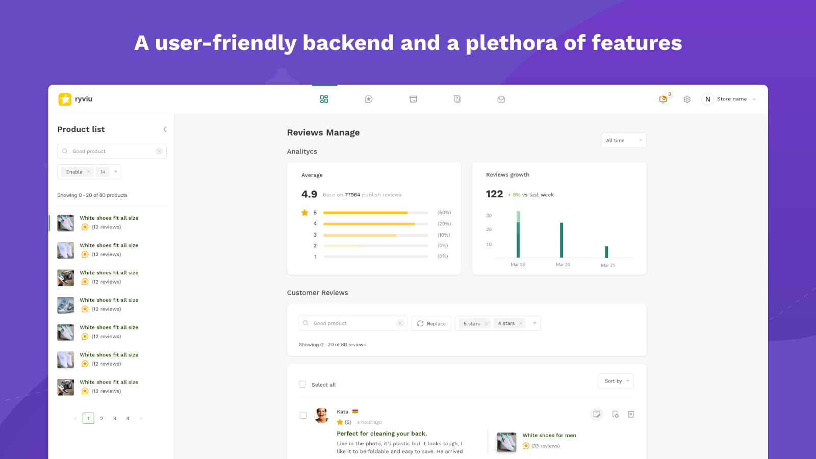 A user-friendly backend and a plethora of features