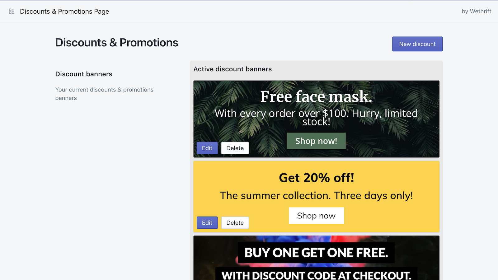 Easy Discounts & Promotions app dashboard