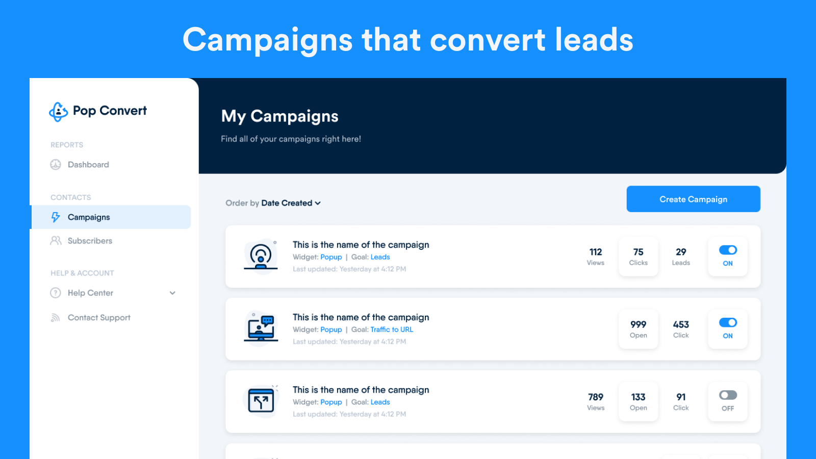 Campaigns that convert leads