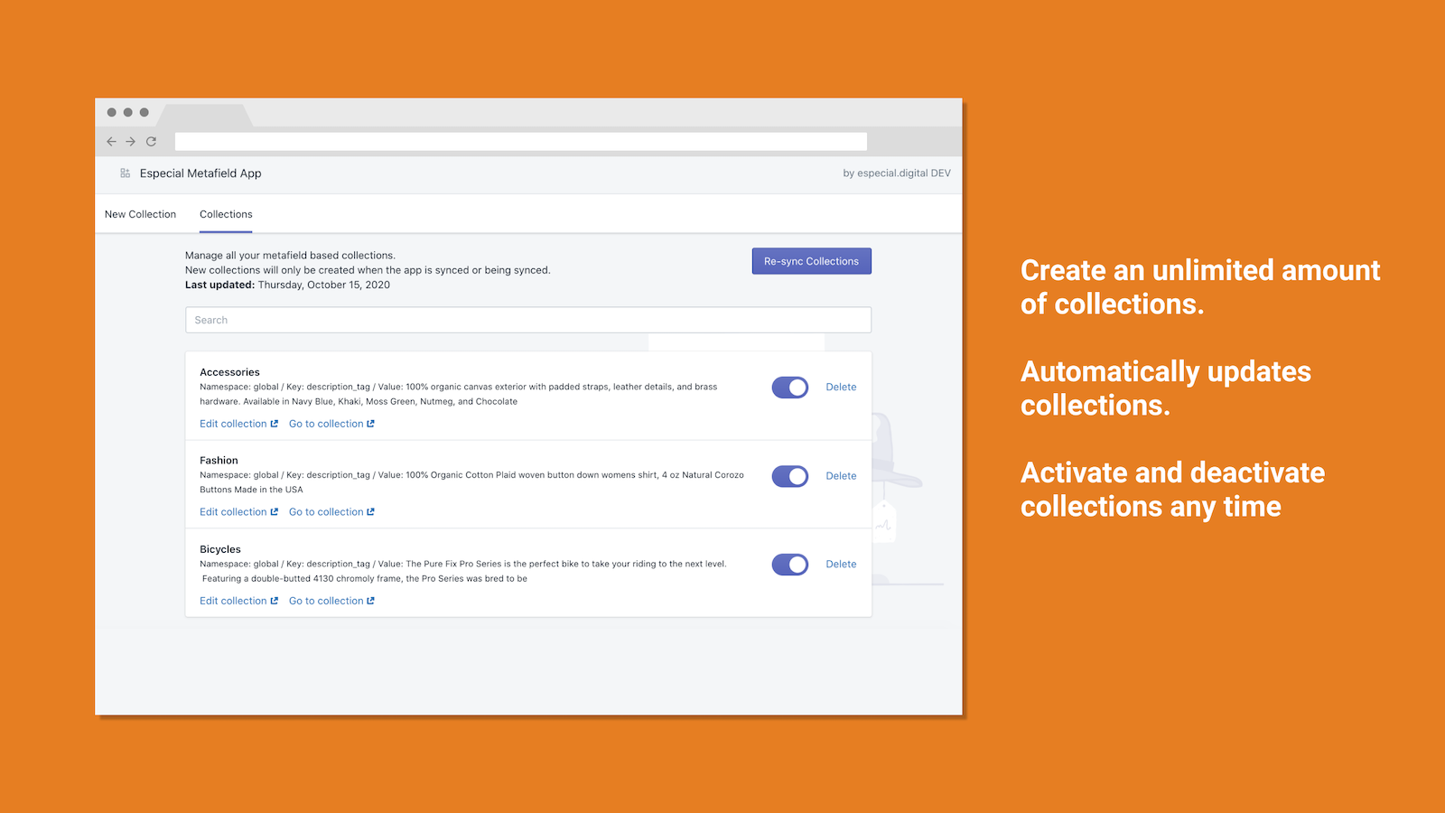 smart automated metafield collections app image and features