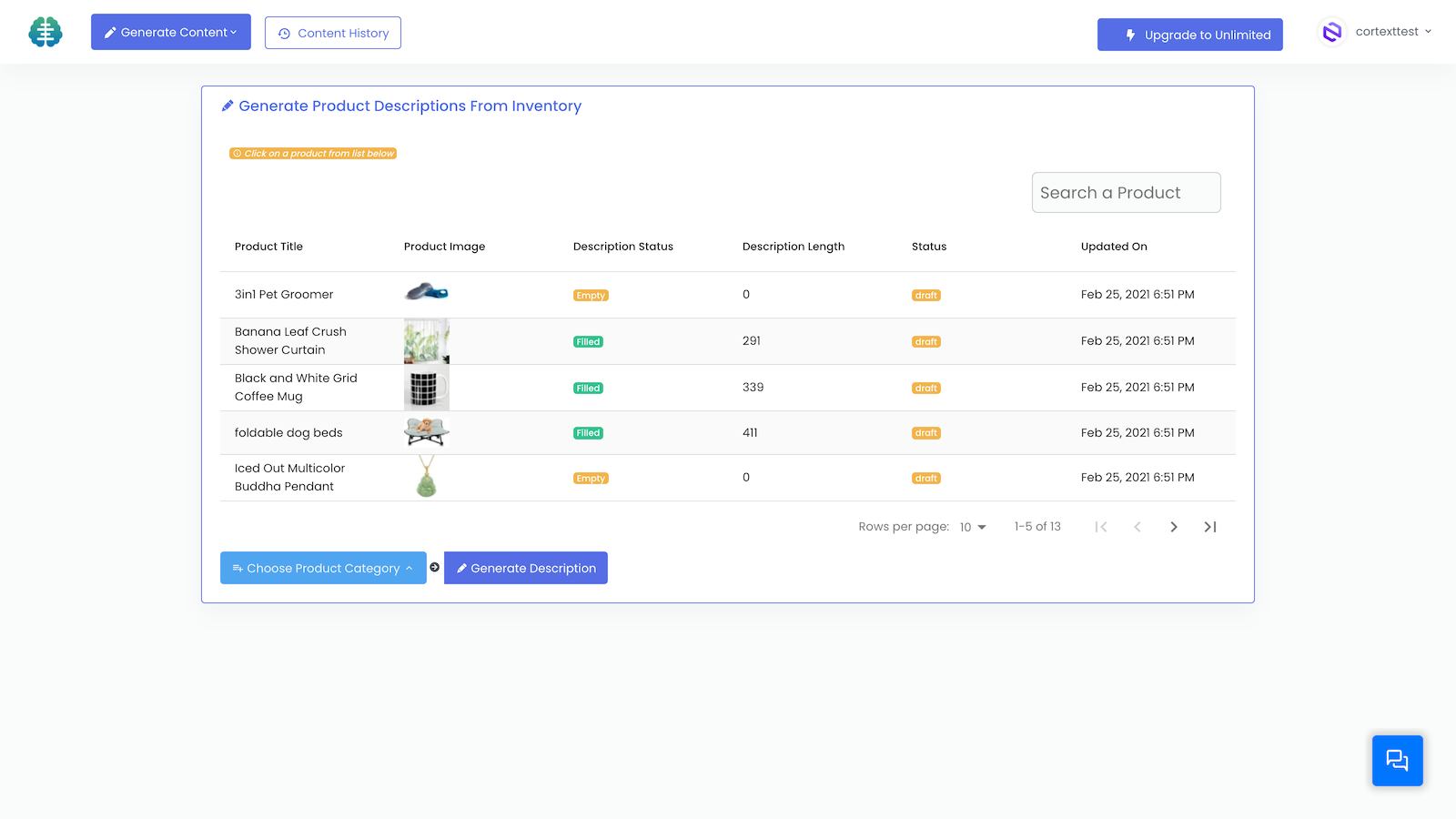 Choose a product title from your Shopify Inventory