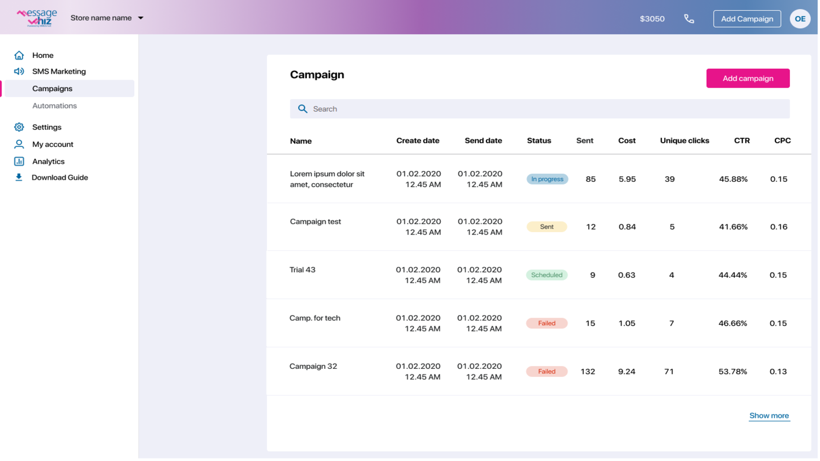 Use log to follow your campaigns` performance