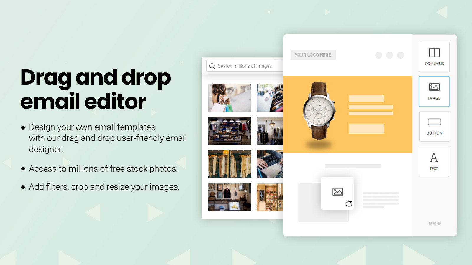 Drag and drop email templates with millions of stock photos