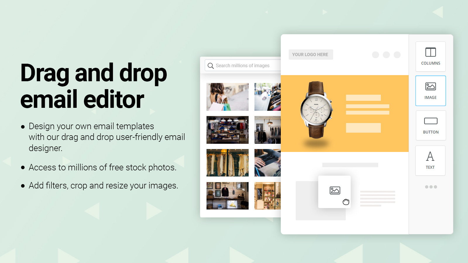 Drag and drop email designer and million of stock photos