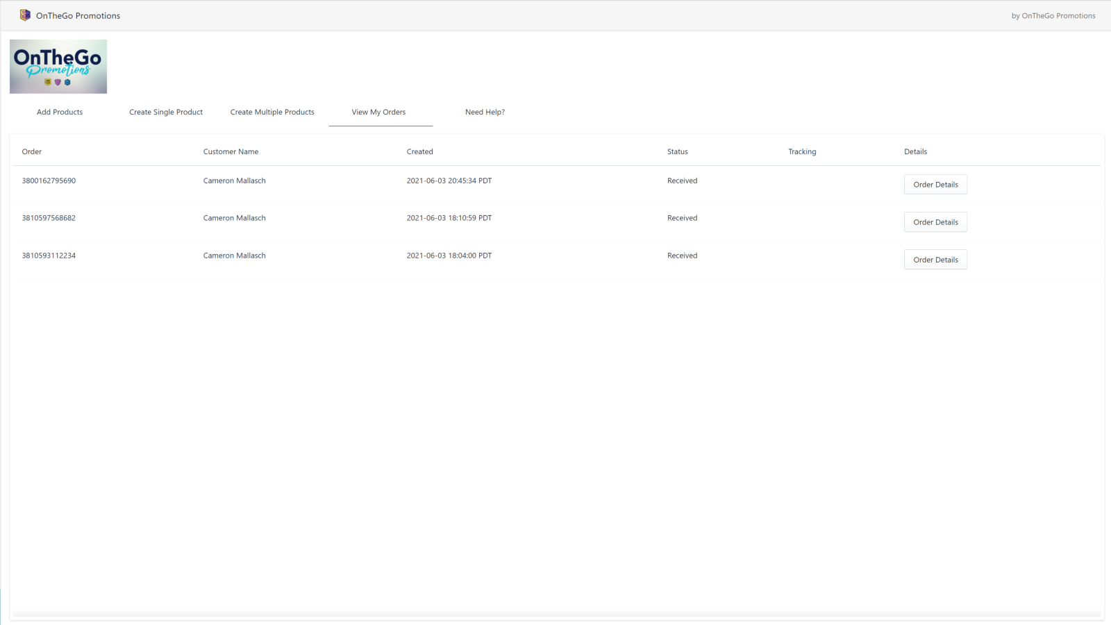 View created orders and details