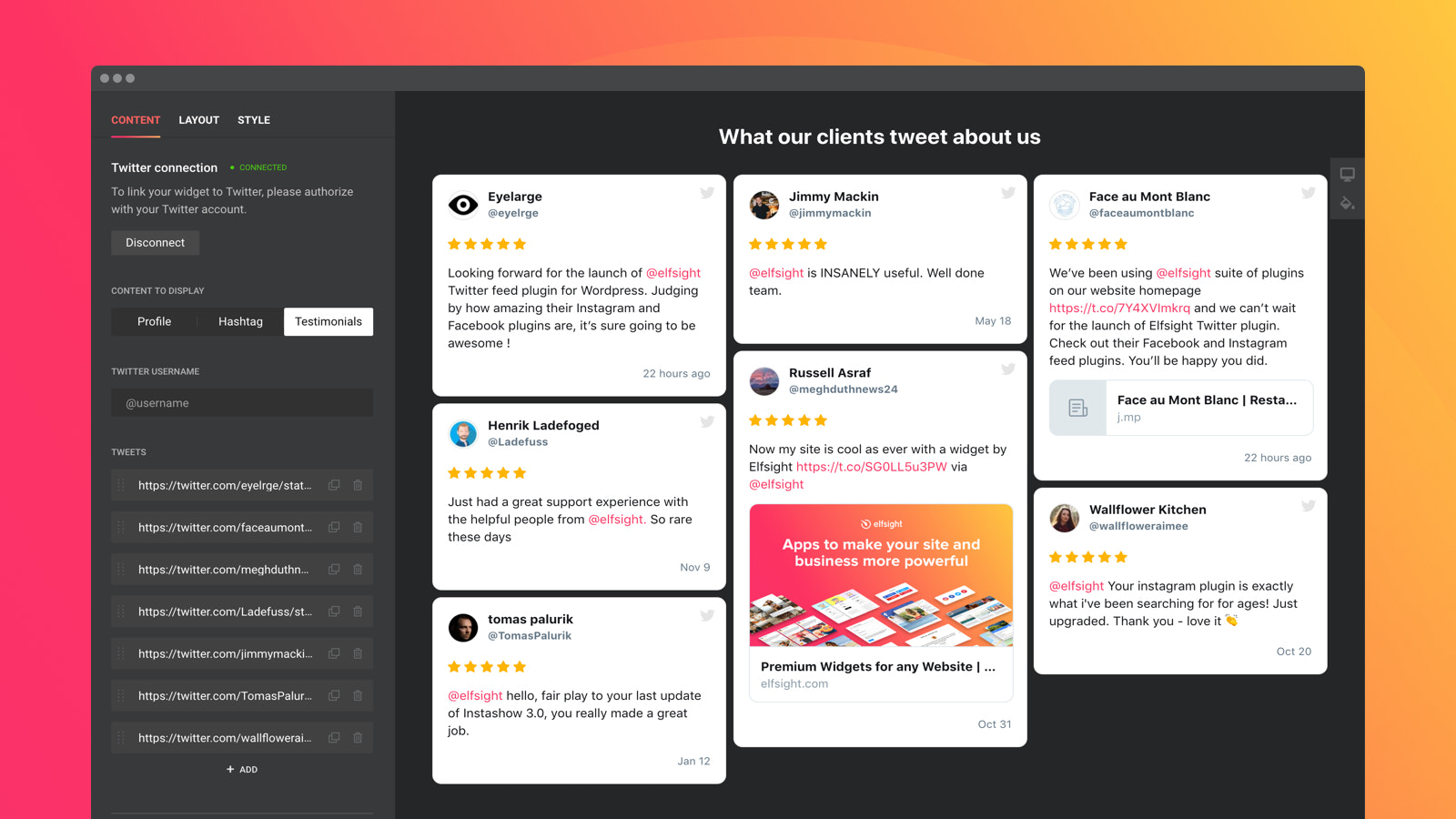 Display testimonial Twitter Tweets by URLs and add star rating