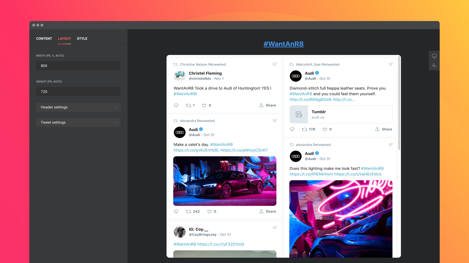 Show Tweets selected by hashtags and set Twitter Feed size