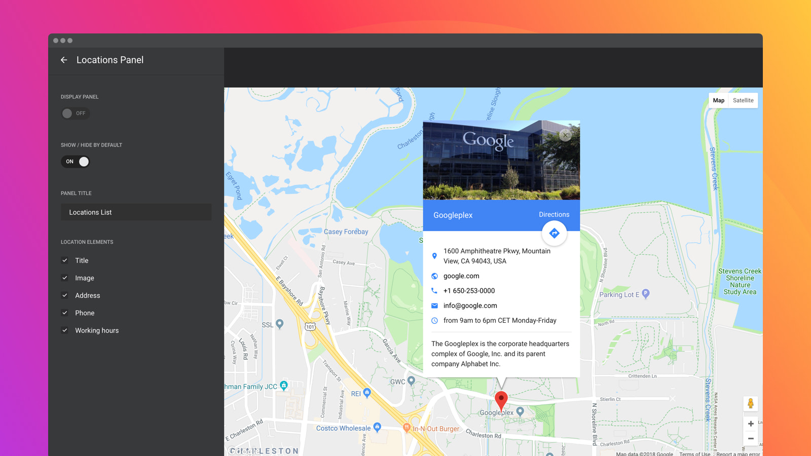 All Google maps settings available: layers, controls and zoom