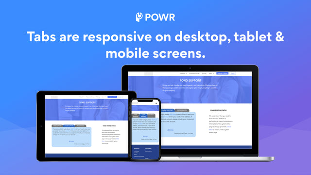 Tabs are responsive on all devices.