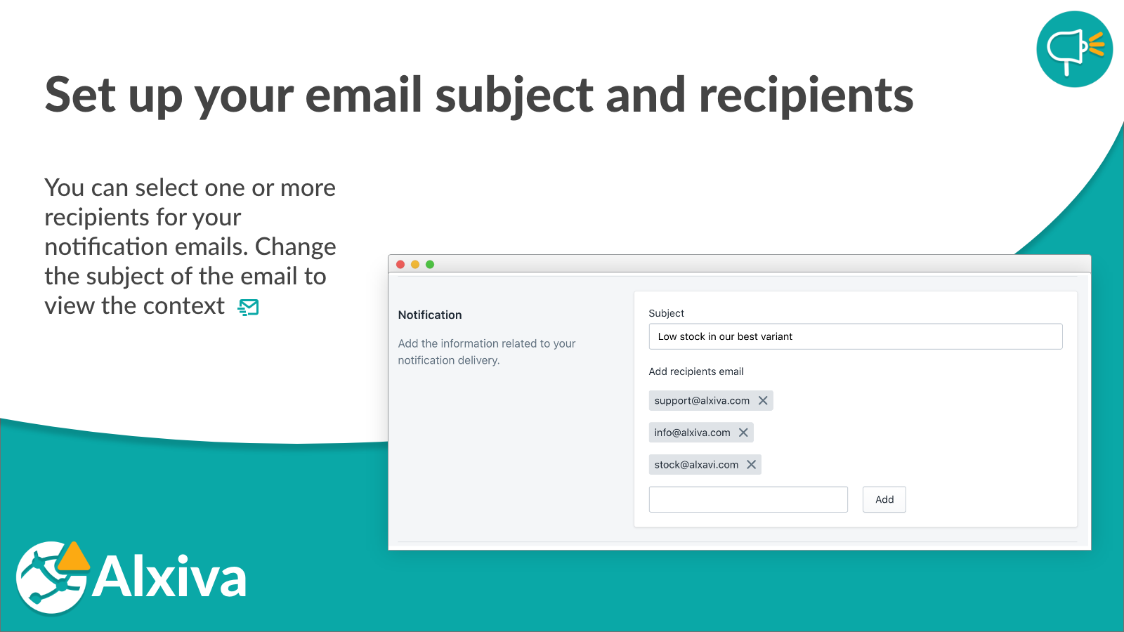 Set up email subject and recipients