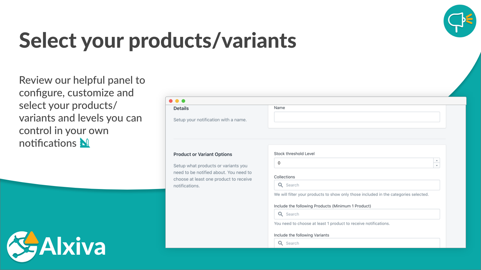 Select your products/variants