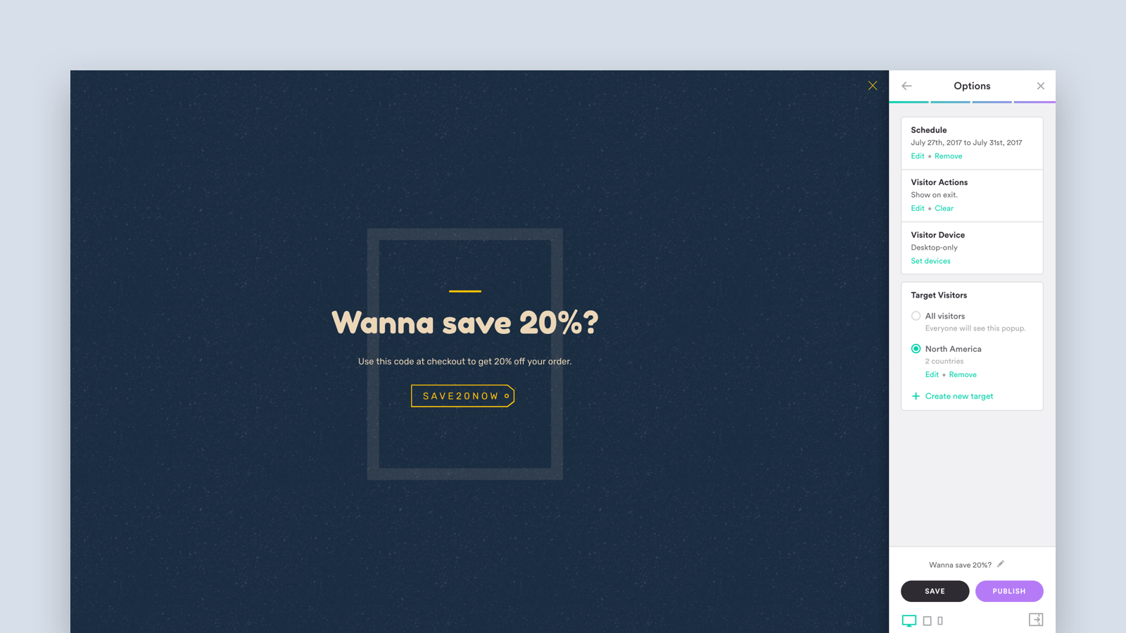 Customize your popup's style, content, and options.