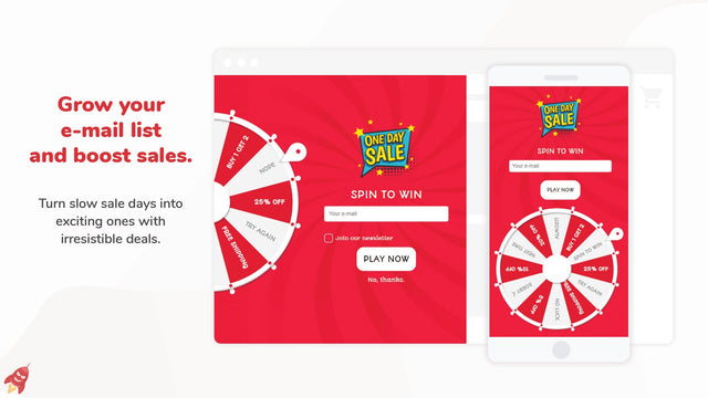 Flash Sale Pop up - Grow your email list with wheel pop ups