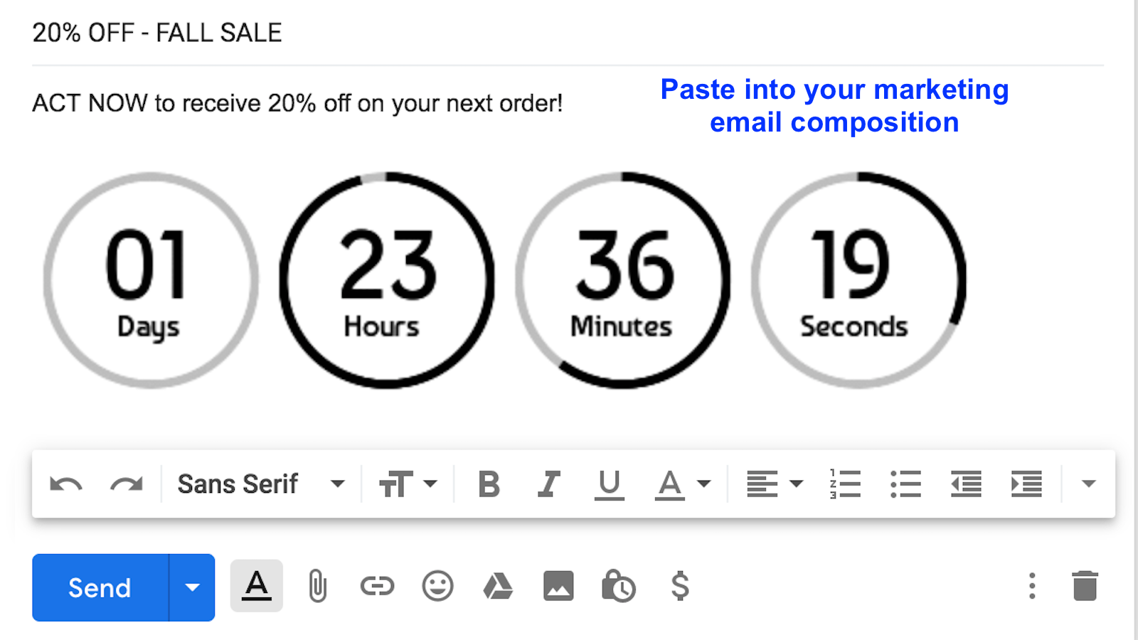 Paste into email composition