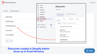 Expiring discounts appear in Email Alchemy