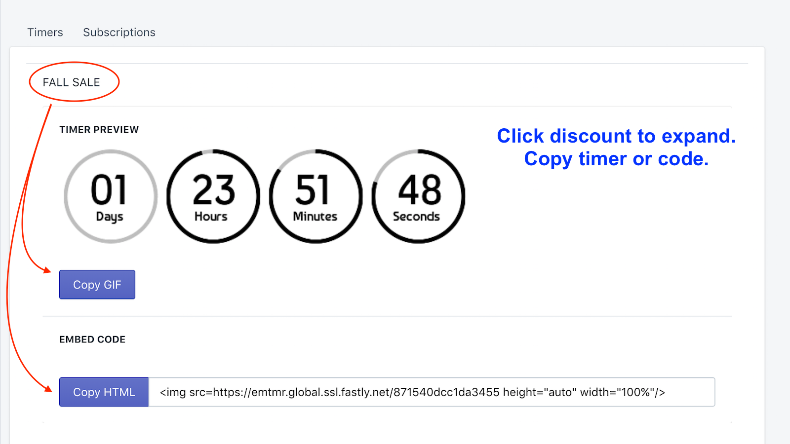 Click to expand and copy discount timer