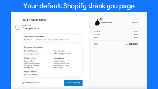 default thank you page
