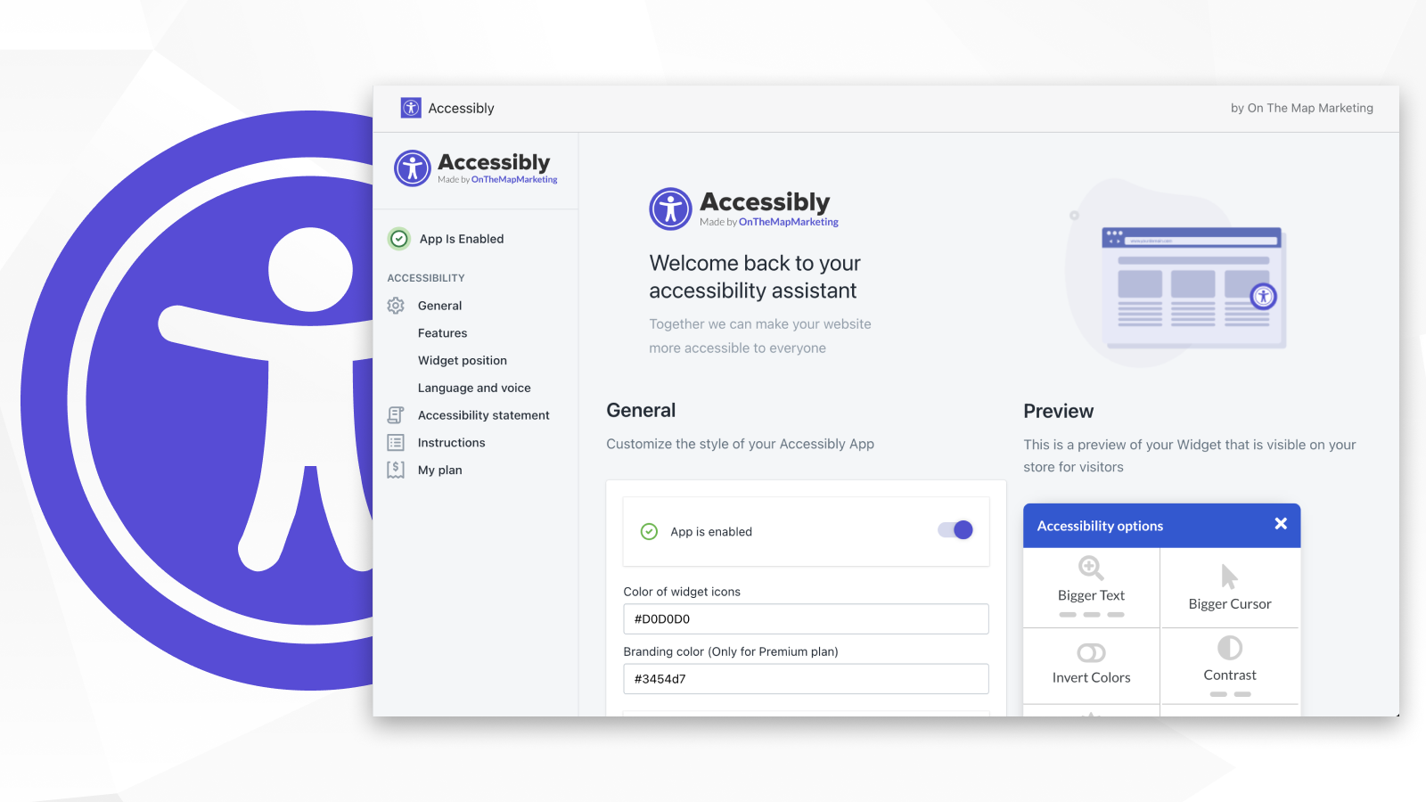 Accessibly admin panel