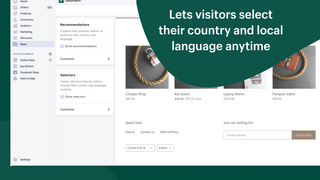 Lets visitors select their country and local language anytime