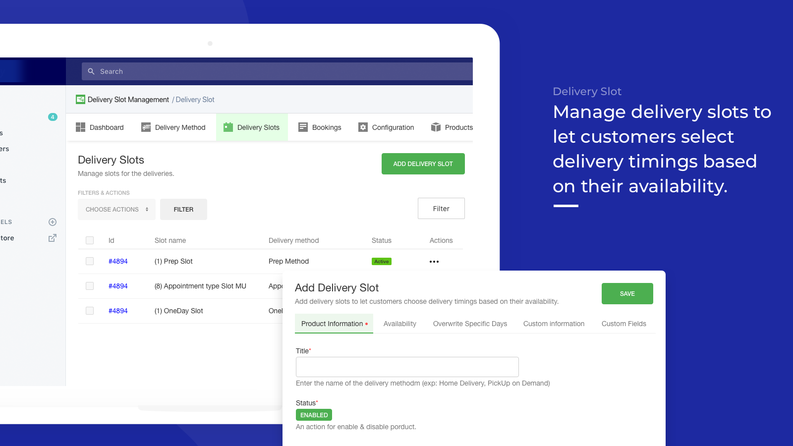 manage delivery slot