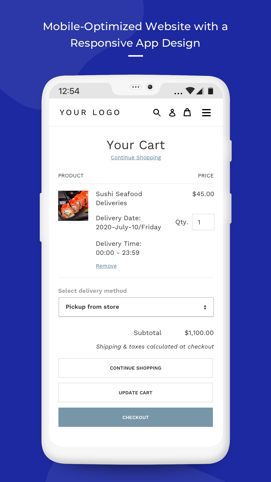 cart page on mobile