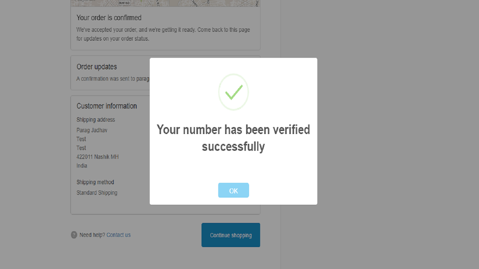 Successful number verification