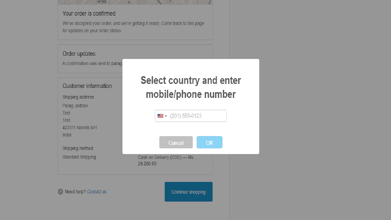 Select country and input customer number
