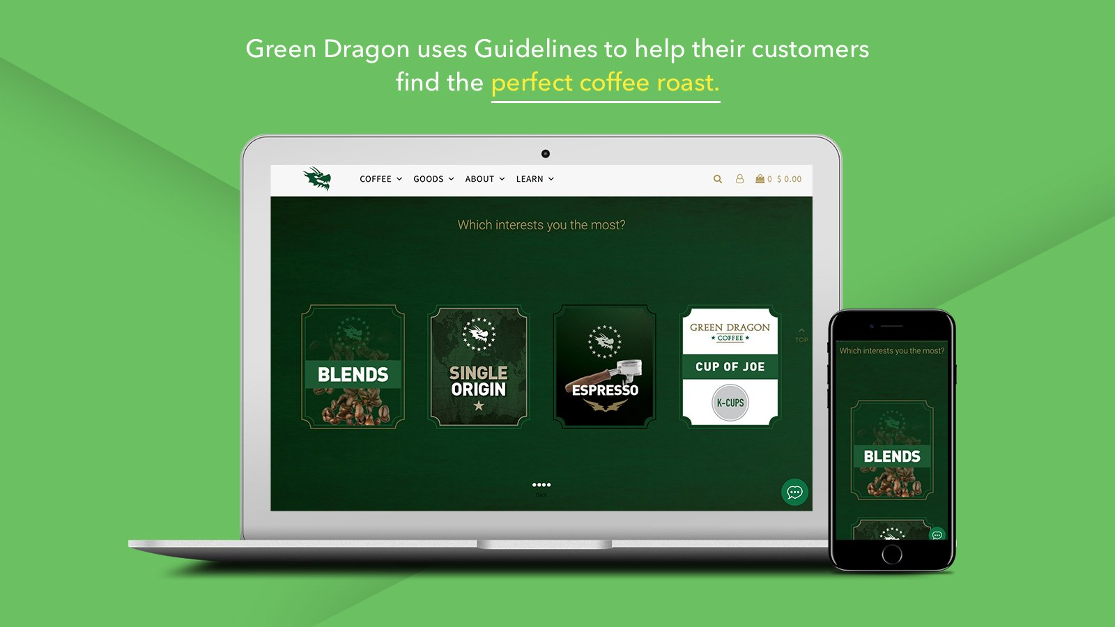 Guidelines coffee roast product finders for Shopify on the Green