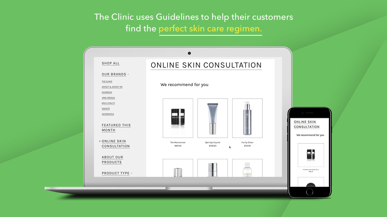 Guidelines skin care product finder on The Clinic Australia's Sh