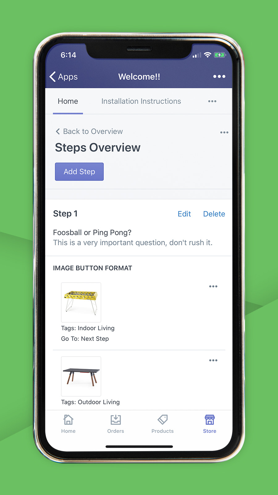 Guidelines product finder embedded in the Shopify mobile admin