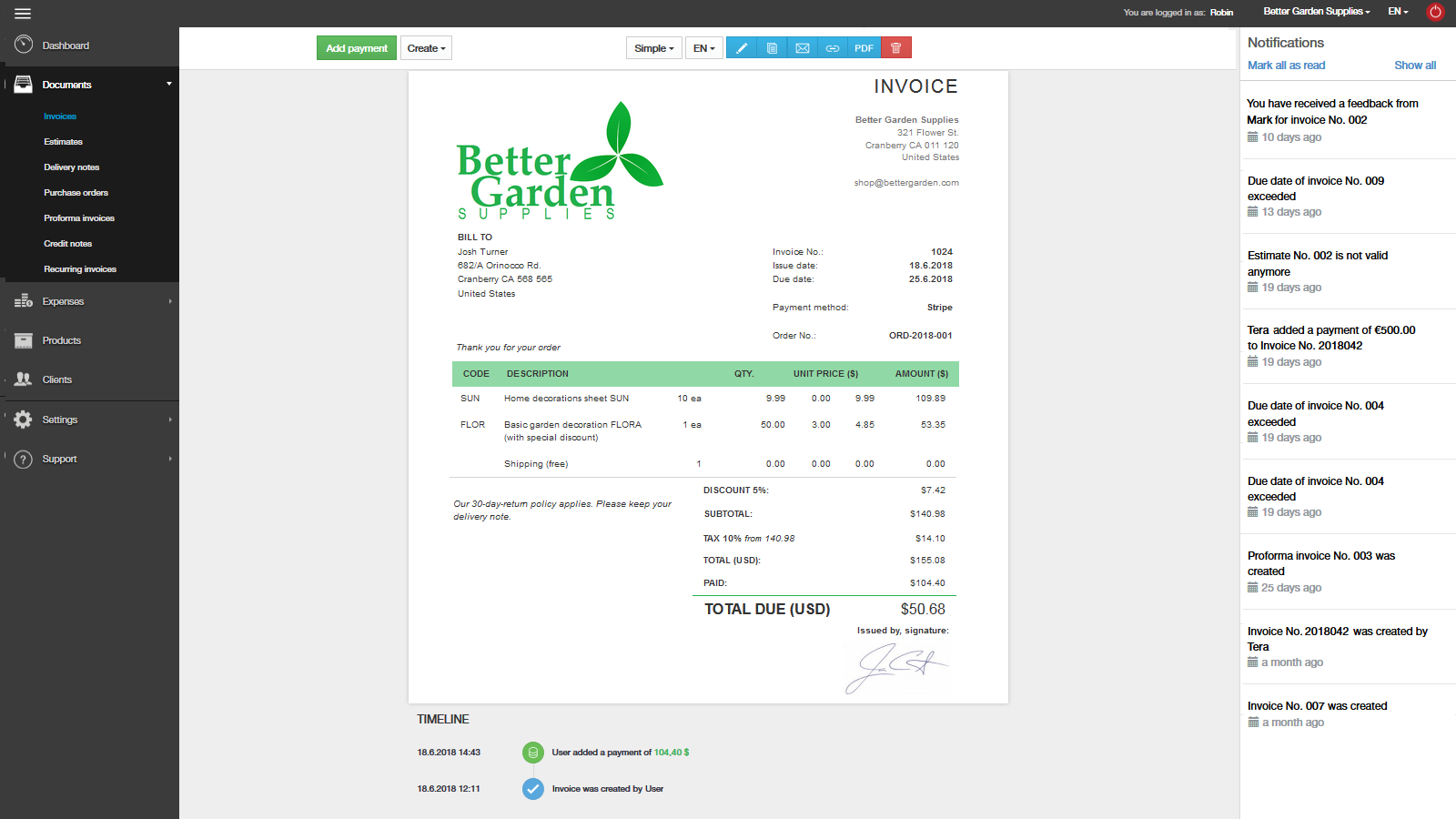 online store invoices